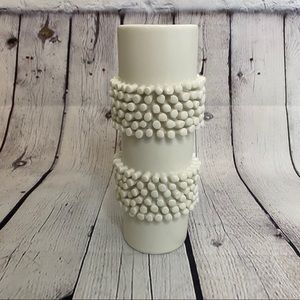 Off white earthenware textured clay modern vase